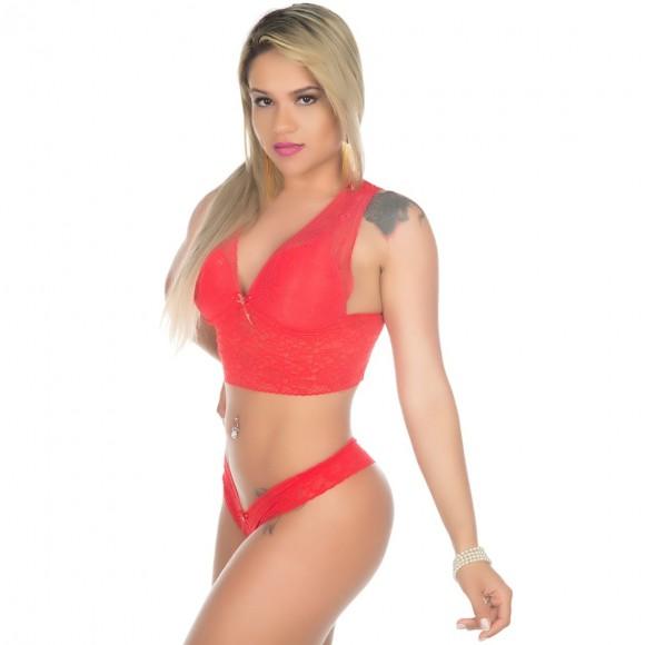 CONJUNTO DE RENDA VERMELHO PIMENTA SEXY