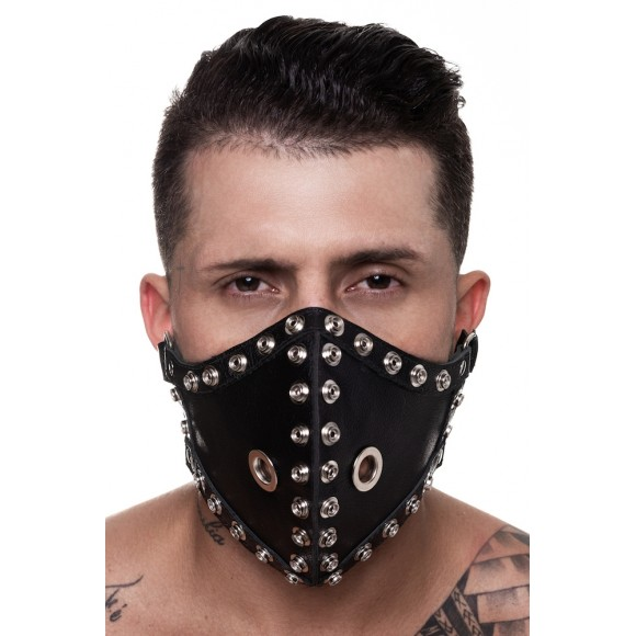 MÁSCARA 100% COURO LEGITIMO COM DETALHES EM METAL SD CLOTHING